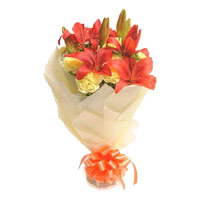 For Rakhi, Deliver 2 Orange Lily 12 Yellow Carnation Online Flower Bouquet in India