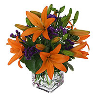 Early Morning Flower Delivery India. Orange Lily Vase 4 Flower Stems on Rakhi
