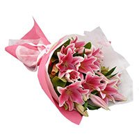 Valentine's Day Flower in India : Pink Lily to India