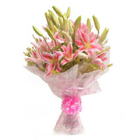 Order for Rakhi and Pink Lily Bouquet 6 Flowers in India