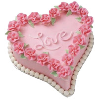 1.5 Kg Love Heart Shape Strawberry Cake Delivery in India
