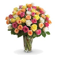 Father's Day Florist India consisting Mixed Roses Vase 36 Flowers in India