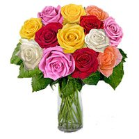 Send Mixed Roses Vase Flowers in India