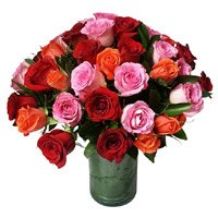Online Florist in India contain Pink, Red, Orange Roses Vase 24 Flowers in India