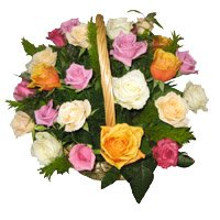 Send Mixed Roses Basket Flowers to India