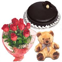 Send Flower in India. Send Bouquet of 12 Red Roses, 1 kg Chocolate Truffle Cake, 9 inch Teddy for Wedding