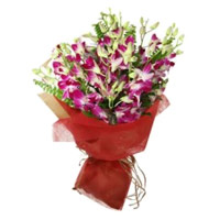 Deliver Rakhi Flowers to India. Purple Orchid 10 Bunch Stem Flowers in India