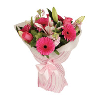 Get Rakhi and Pink Gerbera combined of Lily Roses Bouquet 15 Flowers to India