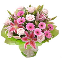Send Rakhi with Flowers to India. Online Pink Lily, Gerbera, Roses Bouquet 15 Flowers to India