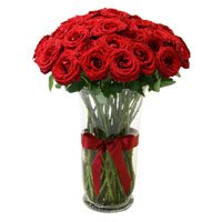 Mother's Day Flowers Delivery to India Same Day. Red Roses in Vase 24 Flowers in India