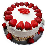 Send Rakhi with 3 Kg Strawberry Cakes to India From 5 Star Hotel