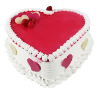 Send 3 Kg Heart Shape Strawberry Cake to India