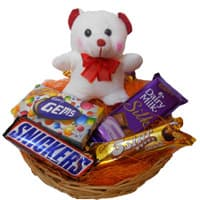 Online Diwali Gifts to India to Deliver 6 Inches Teddy with Basket of Chocolates in India