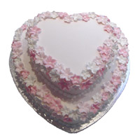Send 3 Kg Two Tier Heart Shape Strawberry Cake to India Same Day Delivery
