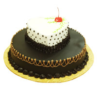 4 Kg Two Tier Heart Chocolate Vanilla 2-in-1 Cake Delivery to India