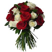 Red White Roses Bouquet 18 Flowers to Vizag