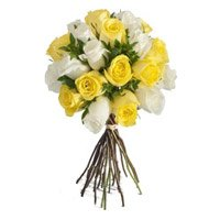 Deliver Mother's Day Flowers to India. Yellow White Roses Bouquet 24 Flowers to Mumbai