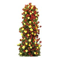 Wedding Flowers to India. Send Yellow Red Roses Tall Arrangement 100 Flowers to Hyderabad