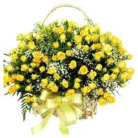 Yellow Roses Basket to India