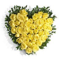 Flower Delivery in Udupi. Send Yellow Roses Heart 40 Flowers to Udupi
