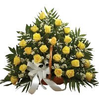 Send Flowers to India : 50 Yellow Roses Basket
