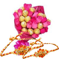 Exclusive Gift of Pink Roses 10 flowers 16 Pcs Ferrero Rocher Bouquet in India, Rakhi in India