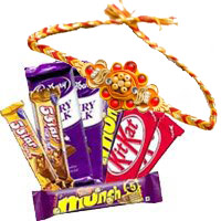 Twin Five Star, Dairy Milk, Munch, Kitkat Chocolates with 1 Rakhi to Kochi