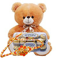 Ferrero Rocher Chocolates 16 Pieces with 6 inch Teddy with 1 Rakhi to Jodhpur