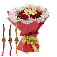 Send 16 Pcs Ferrero Rocher Chocolate encircled with 20 Red Roses and Flowers to India on Rakhi